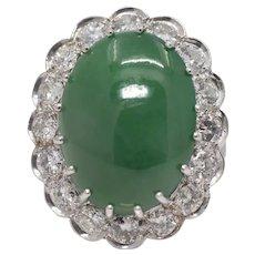 Exquisite Belle Epoque Type A Jade & 3.15ct Diamond Ring in Platinum