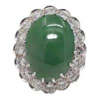 Sale! Exquisite Belle Epoque Type A Jade & 3.15ct Diamond Ring in Platinum