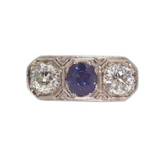 Sale! Edwardian Diamond & Sapphire Three Stone Ring in Platinum