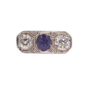 Sale! Edwardian Diamond & Sapphire Three Stone Ring in Platinum