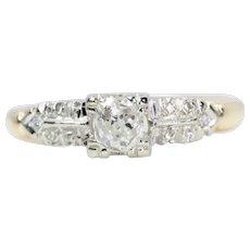 Mid Century 0.55 Carat Mine Cut Cushion Diamond Engagement Ring