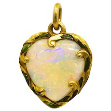 Edwardian Opal & Enamel Heart Pendant in 18K Yellow Gold