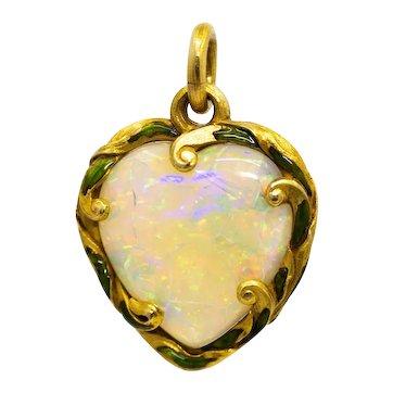 Sale! Edwardian Opal & Enamel Heart Pendant in 18K Yellow Gold