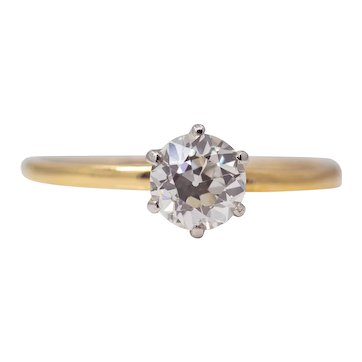 Edwardian Tiffany & Co 0.58ct Diamond Engagement Ring in Platinum, 18K Gold