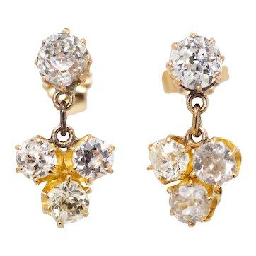 Sparkling Victorian 2.40ct Old Mine Cut Diamond Dangle Earrings