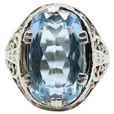 Art Deco Aquamarine Floral Filigree Ring in 18K White Gold