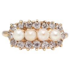Victorian Natural Pearl & Diamond Ring in 18K Yellow Gold