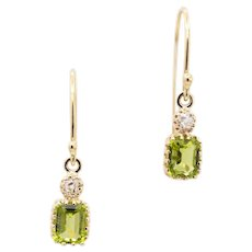 Luminous Edwardian Peridot & Diamond Dangle Earrings in 14k Yellow Gold