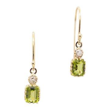 Luminous Edwardian Peridot & Diamond Dangle Earrings in 14k Yellow Gold