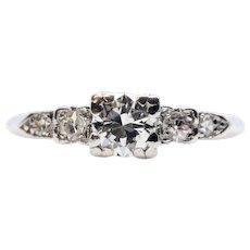 Mid Century 0.48ct Diamond Engagement Ring in Platinum