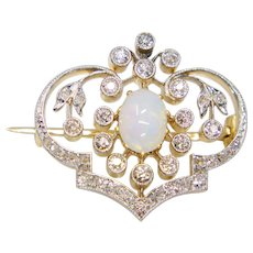 Exceptional Edwardian Diamond & Opal Brooch in Platinum and 15ct Gold