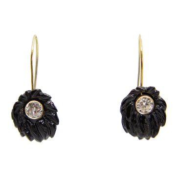Floral Victorian Carved Jet Diamond Earrings in 14K Yellow Gold