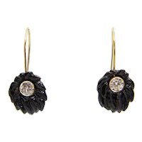 Sale! Floral Victorian Carved Jet Diamond Earrings in 14K Yellow Gold