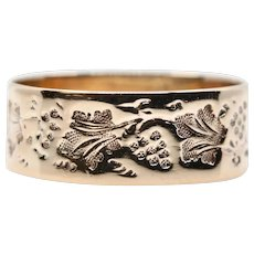 Victorian Grapes of Bounty Hand Engraved Wedding Band in 14K Gold