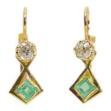 Art Nouveau Mine Cut Diamond & Emerald Earrings in 18K Yellow Gold