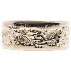 Victorian Hand Carved Leaf Motif Wedding Band in 14K Gold