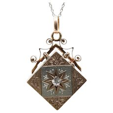 Victorian Hand Engraved Diamond Locket in Rose Gold and Platinum