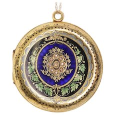 Richly Enameled Victorian Floral Locket in 18K Yellow Gold
