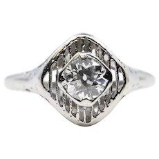 Handmade 1920's Art Deco Diamond Solitaire Engagement Ring