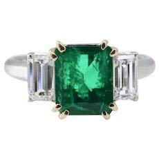 Fine Emerald and Diamond Three Stone Ring in Platinum, 18K Gold