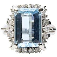 Retro Ocean Blue Aquamarine & Diamond Cocktail Ring in Platinum