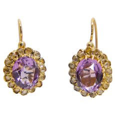 Victorian Amethyst & Rose Cut Diamond Earrings in Yellow Gold