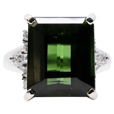 Retro 1940's 7.30 Carat Green Tourmaline & Diamond Ring in Platinum