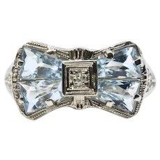 Art Deco Aquamarine & Diamond Filigree Bow Ring in 14K White Gold