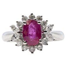 Vintage 1.12ct Ruby & Diamond Halo Ring in Platinum