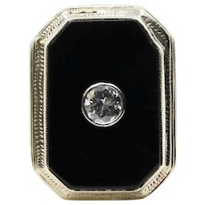 Mens Substantial Art Deco Diamond and Onyx Ring in 14K Yellow Gold