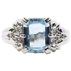 Vintage 1950's Aquamarine and Diamond Ring in Platinum