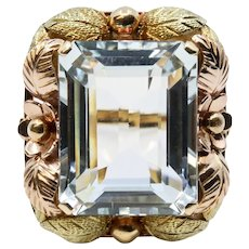 1940's Retro Brazilian Aquamarine Floral Ring in 18k Rose and Yellow Gold