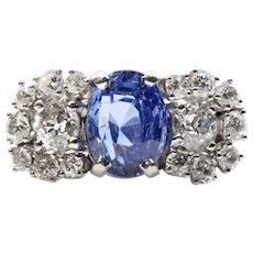 Art Deco GIA 3.48ct No Heat Sapphire & Diamond Ring in Platinum
