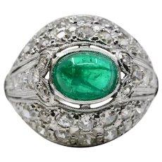 Art Deco 2.20ct Colombian Emerald & Diamond Ring in Platinum