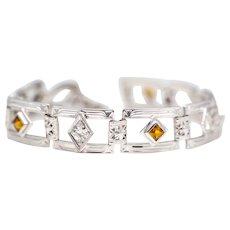 Unique Engraved Art Deco 14K White Gold Diamond & Citrine Bracelet