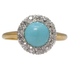 Charlton & Co Platinum Diamond Turquoise Ring