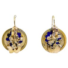 Exceptional Russian Enamel & Diamond Victorian Earrings in Yellow Gold