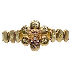 Regal Victorian Lion & Old Mine Cut Diamond Bracelet in 14K Gold