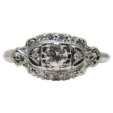 Art Deco Diamond Floral Engagement Ring in Platinum