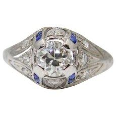 Sale! Art Deco 0.86ct Diamond & Sapphire Platinum Filigree Engagement Ring