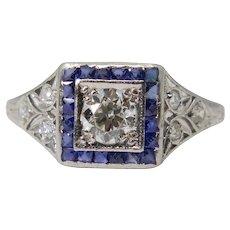 Art Deco Diamond & Sapphire Engagement Ring in Platinum
