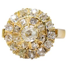 Victorian 1.47ct Mine Cut Diamond Halo Engagement Ring in Yellow Gold