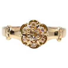 Victorian Diamond Cluster Engagement Ring in Yellow Gold