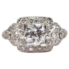 Art Deco GIA Certified Diamond Engagement Ring in Platinum