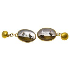 Victorian Cockfighting Essex Crystal 18K Yellow Gold Cufflinks