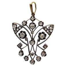 Exquisite Russian Art Nouveau 1.39ct Diamond Pendant Necklace
