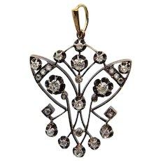 Sale! Exquisite Russian Art Nouveau 1.39ct Diamond Pendant Necklace