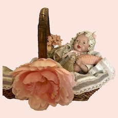 Antique 1912 Parsons Jackson Baby Doll in Presentation Basket.