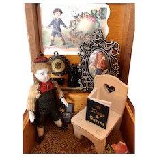 Antique German Miniature Bisque Doll in Presentation Box.