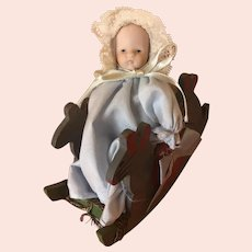Sweet Vintage Miniature Baby in Her Rocking Mouse. 5""
